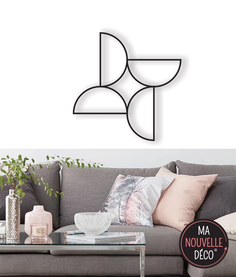 DÉCORATION MURALE DEMI-CERCLE - décoration métal alu noir
