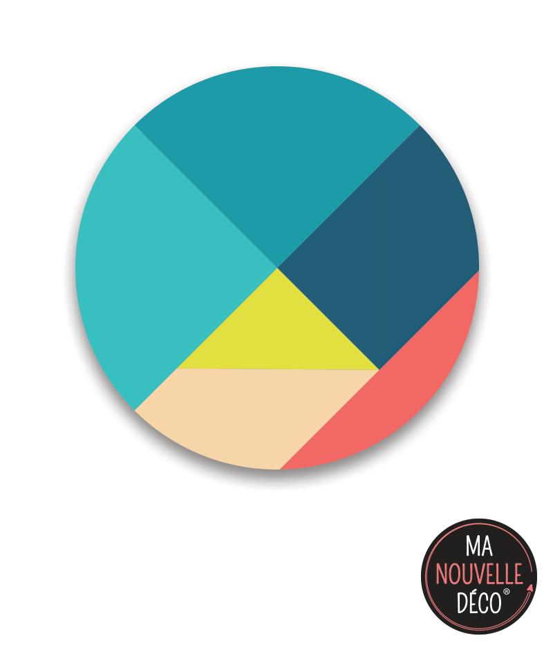 """Tapis rond vinyle """"NINA"""" design et graphique couleurs tendances"""