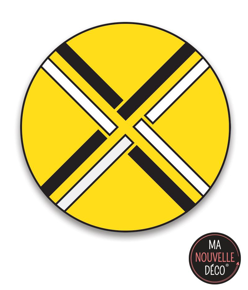 """Tapis vinyle rond """"MANON"""" tapis graphique jaune"""