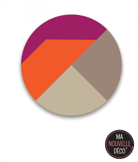 "Tapis rond vinyle ""looky"", orange - beige - violet - ma nouvelle decoration.com"