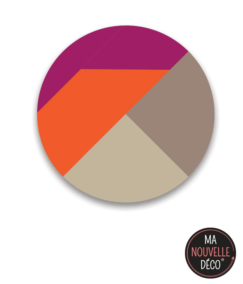 """Tapis rond vinyle """"looky"""", orange - beige - violet - ma nouvelle decoration.com"""