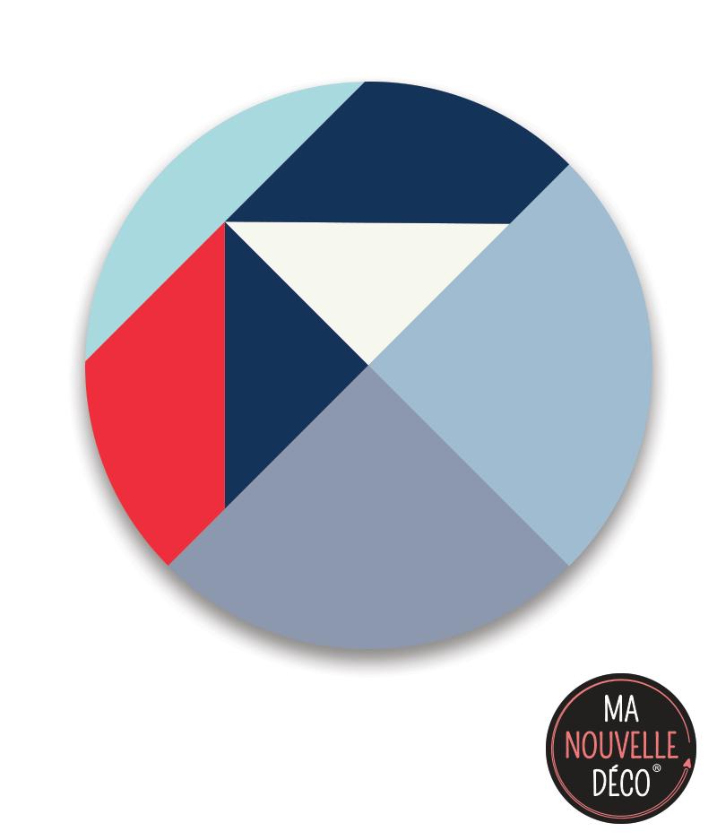 """Tapis de sol vinyle """"ADELE"""" Bleu-rouge-blanc-gris - ma nouvelle décoration"""