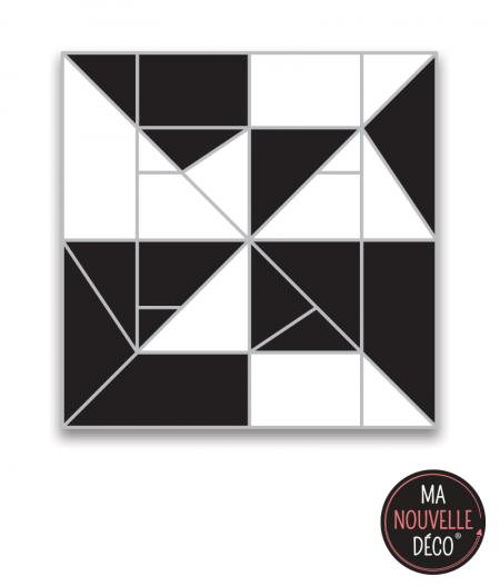 """tapis de sol vinyle """"SOLENE"""" tapis carré graphique noir et blanc - ma nouvelle decoration"""