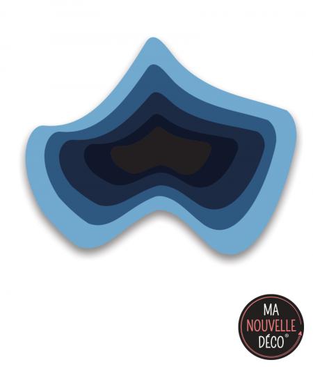 """Tapis de sol vinyle """"abrstact"""" forme originale et dégradé de bleu"""