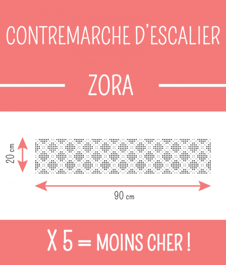 dimensions : CONTREMARCHE D'ESCALIER ZORA