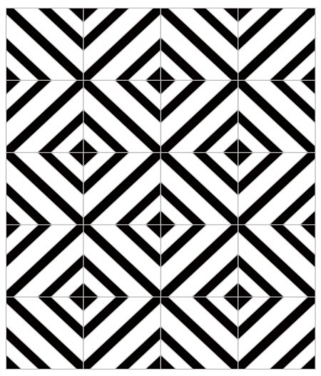 Crédence de cuisine adhésive CARLA, motif géométrique carré noir et blanc