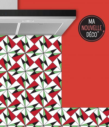 Crédence adhésive de cuisine ALICE - rouge - vert - blanc - noir - ma nouvelle decoration