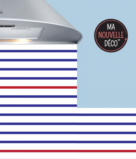 Crédence de cuisine adhésive PARIS - esprit marinière - bord de mer bleu - blanc - rouge - ma nouvelle décoration