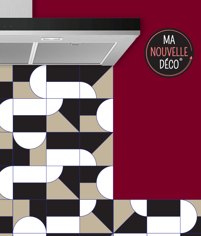 Crédence de cuisine JULIA graphisme et design - noir - marron - blanc - ma nouvelle decoration
