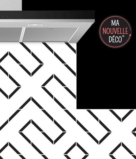 Crédence de cuisine LINE - graphique original - noir et blanc - ma nouvelle decoration