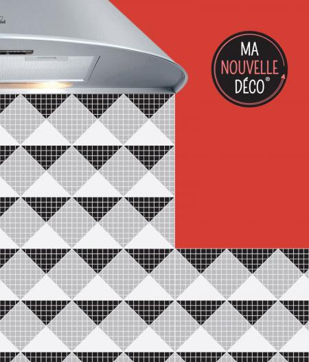 Crédence de cuisine VANDA motif mosaïque noir - blanc - gris - ma nouve lle decoration