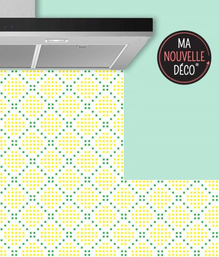 Crédence de cuisine MARGOT motif mosaïque jaune - vert - ma nouvelle decoration