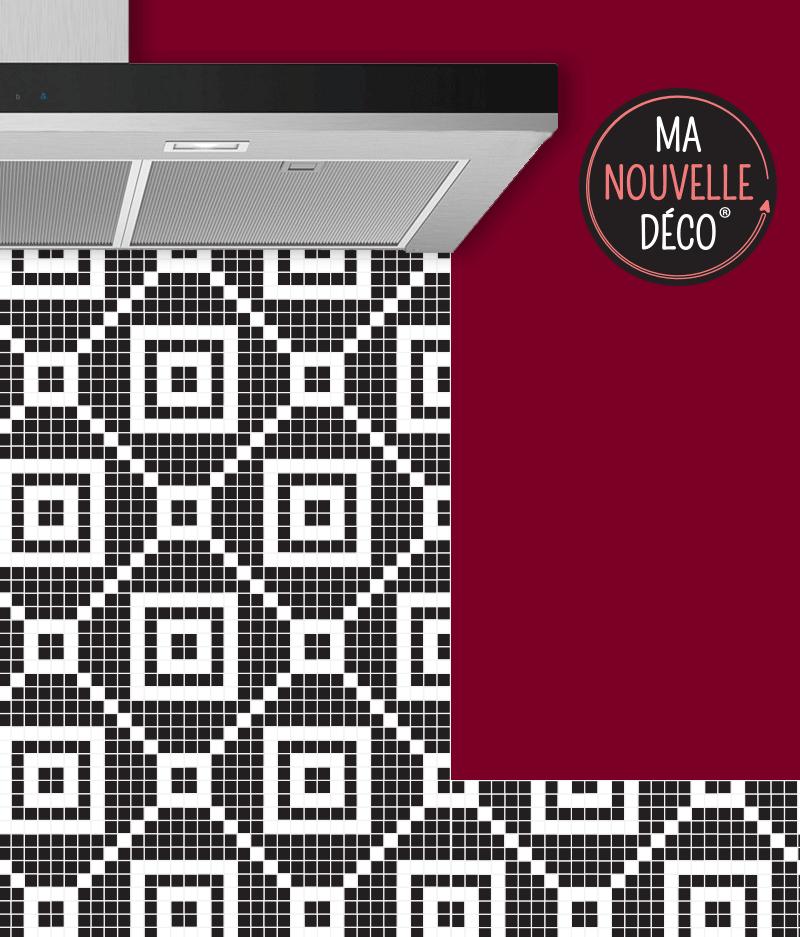 Crédence de cuisine adhésive MILA motif mosaïque noir et blanc - ma nouvelle decoration