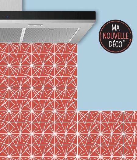 Crédence de cuisine LÉANA motif graphique rouge orangé - ma nouvelle decoration