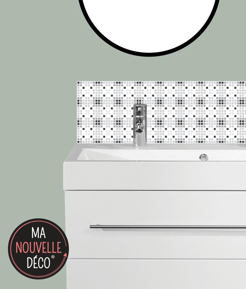 CRÉDENCE SALLE DE BAINS AMY motif mosaïque noir et blanc - ma nouvelle décoration