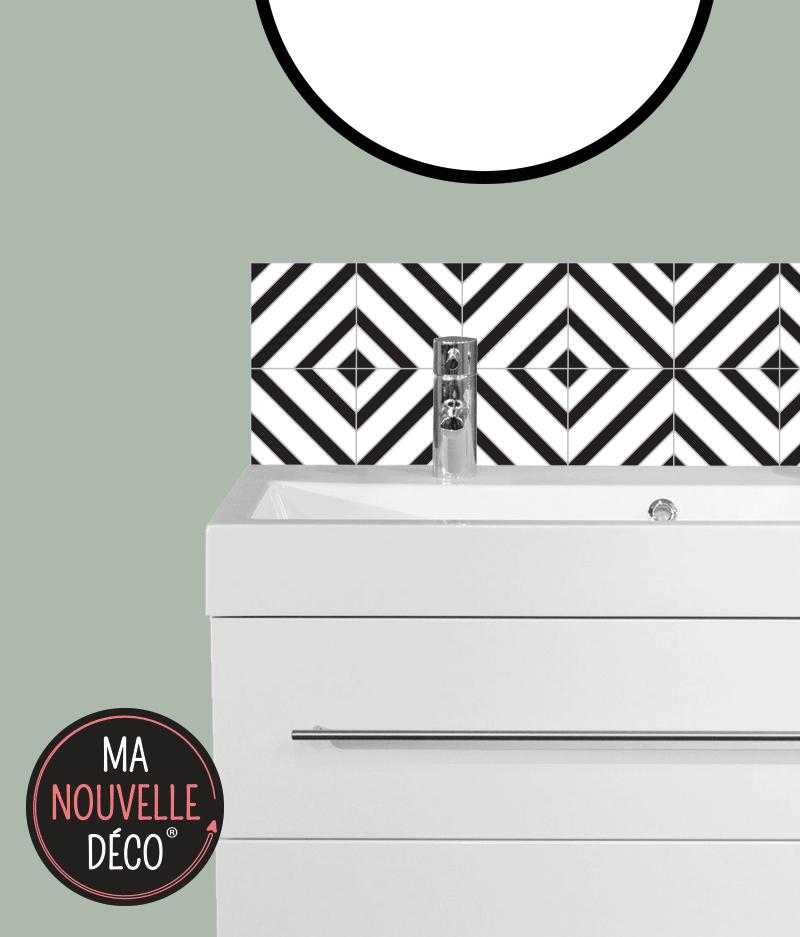 CRÉDENCE SALLE DE BAINS CARLA motif graphique noir et blanc - ma nouvelle decoration