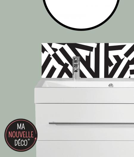 CRÉDENCE SALLE DE BAINS CHANTAL motif graphique noir et blanc - ma nouvelle décoration