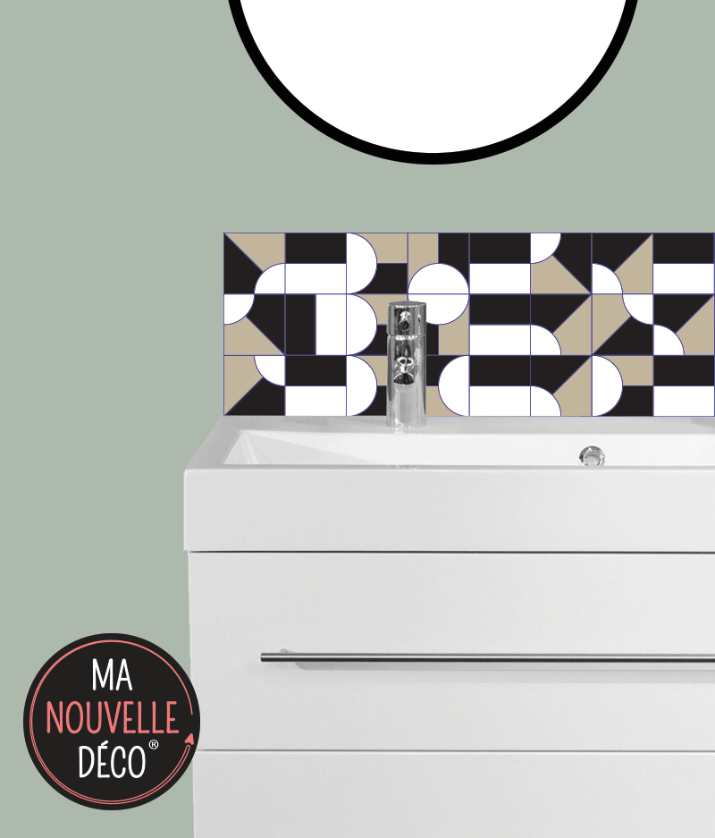 CRÉDENCE SALLE DE BAINS ADHÉSIVE  JULIA motif graphique noir - marron - blanc - ma nouvelle decoration