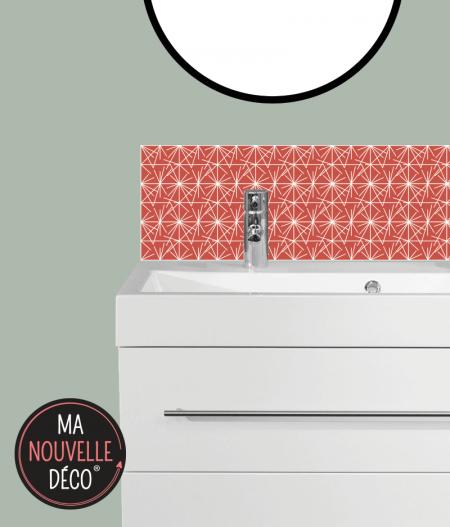 Crédence de salle de bains LÉANA : motif graphique rouge orangé - ma nouvelle décoration