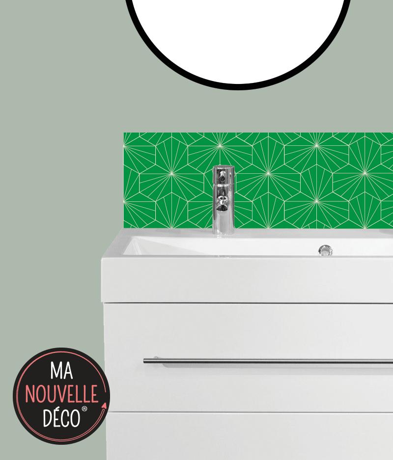 CRÉDENCE SALLE DE BAINS LILY, motif graphique vert - ma nouvelle decoration