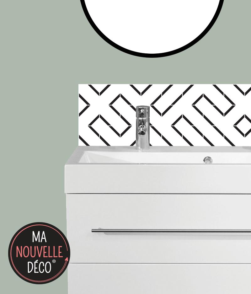 CRÉDENCE DE SALLE DE BAINS LINE motif graphique noir et blanc - ma nouvelle decoration
