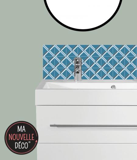 CRÉDENCE DE SALLE DE BAIN MANON motif graphique et géométrique - bleu - blanc - noir - ma nouvelle decoration.