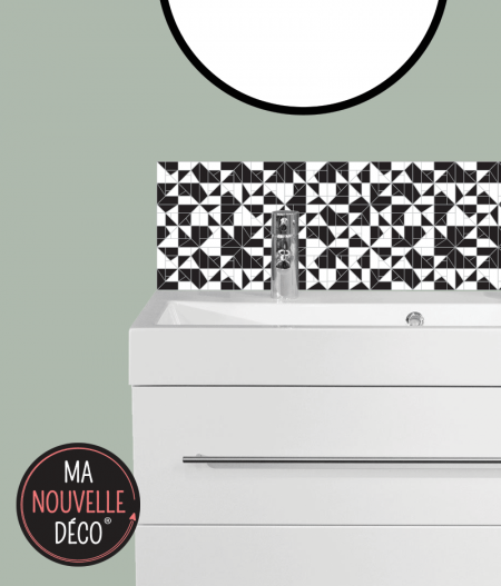CRÉDENCE DE SALLE DE BAINS SOLINE motif graphique noir et blanc - ma nouvelle decoration.