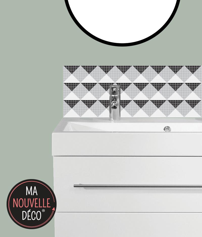 CRÉDENCE DE SALLE DE BAINS VANDA motif mosaïque noir - gris - blanc - ma nouvelle decoration