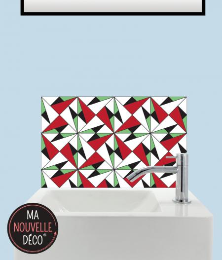 CRÉDENCE LAVE-MAINS ALICE carreaux de ciment rouge - vert - noir - blanc