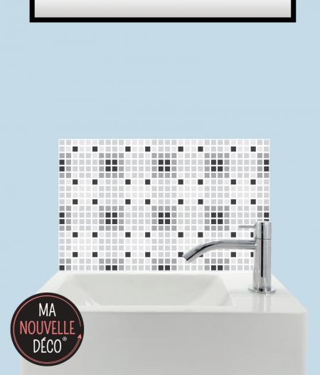 CRÉDENCE ADHÉSIVE POUR LAVE-MAINS AMY motif mosaïque petits carreaux noir - blanc - gris - ma nouvelle decoration.
