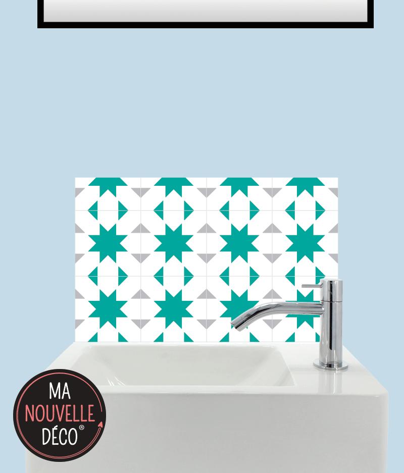 Crédence adhésive pour lave-mains : LISA motif carreau de ciment vert et gris