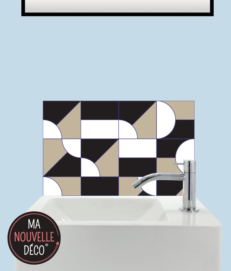 CRÉDENCE LAVE-MAINS JULIA motif graphique géometrique noir - marron - blanc. ma nouvelle decoration.