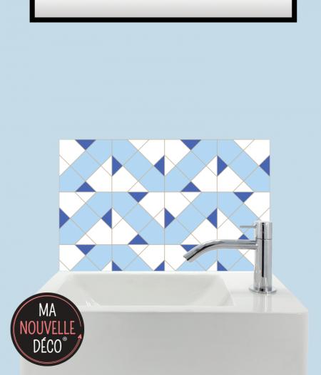 CRÉDENCE LAVE-MAINS LAURA motif carreau de ciment bleu.