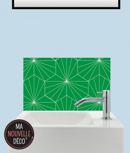 CRÉDENCE ADHÉSIVE LAVE-MAINS LILY motif graphique vert. ma nouvelle decoration