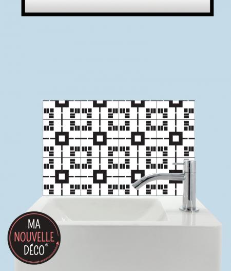 CRÉDENCE LAVE-MAINS LUCIE motif carreau de ciment noir gris blanc