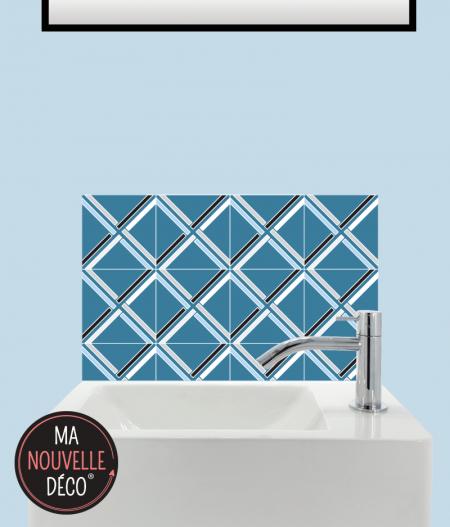 CRÉDENCE LAVE-MAINS MANON motif graphique bleu