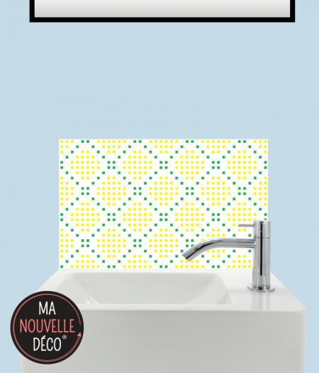 CRÉDENCE LAVE-MAINS MARGOT motif mosaïque jaune vert