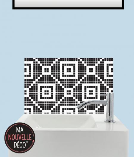 CRÉDENCE LAVE-MAINS MILA motif mosaïque noir et blanc