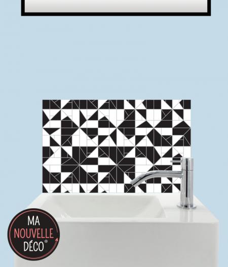 CRÉDENCE LAVE-MAINS SOLINE motif original et graphique noir et blanc.