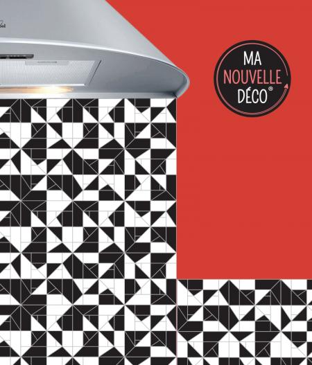 Crédence de cuisine SOLINE credence carreaux de ciment noir et blanc