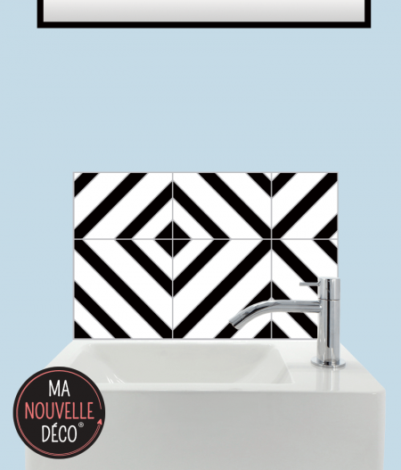 CRÉDENCE LAVE-MAINS CARLA motif graphique noir et blanc - ma nouvelle decoration