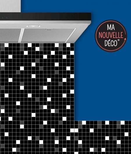 Crédence de cuisine adhésive CÉLESTE - mosaïque - carreau de ciment - noir - blanc - gris - ma nouvelle decoration