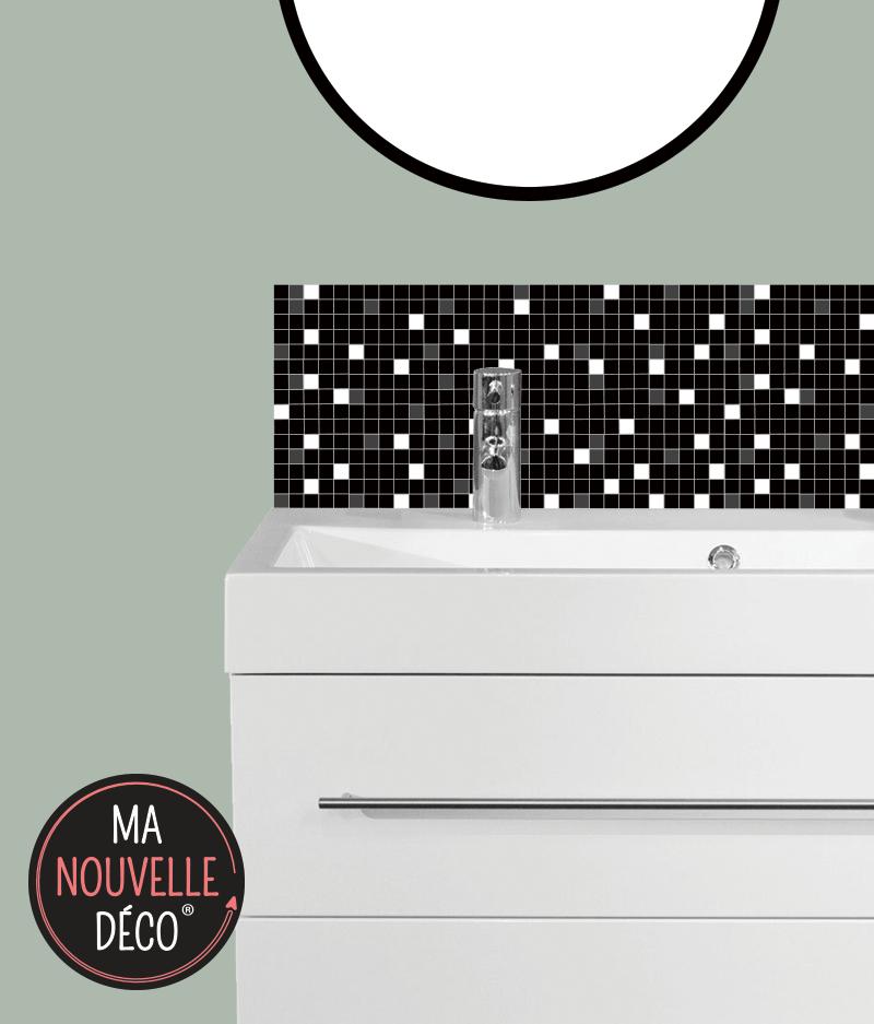CRÉDENCE DE SALLE DE BAINS CÉLESTE motif mosaïque petits carreaux noir - blanc - gris - ma nouvelle decoration