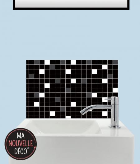 CRÉDENCE LAVE-MAINS CÉLESTE motif mosaïque petits carreaux noir - blanc - gris.