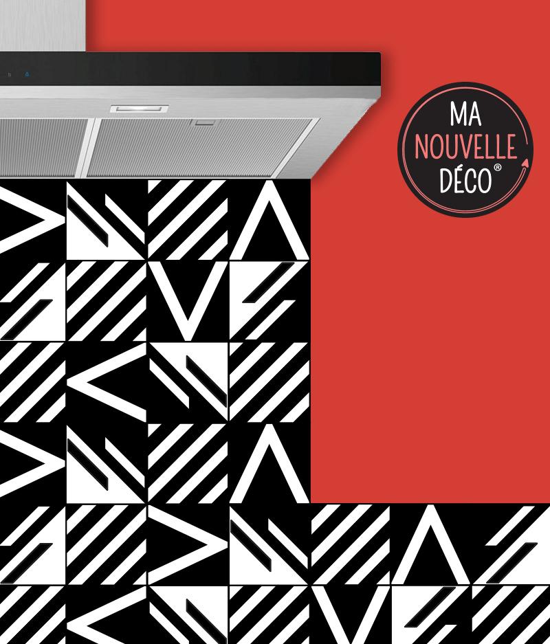 CRÉDENCE DE CUISINE ANGÈLE graphisme original - noir et blanc - ma nouvelle decoration