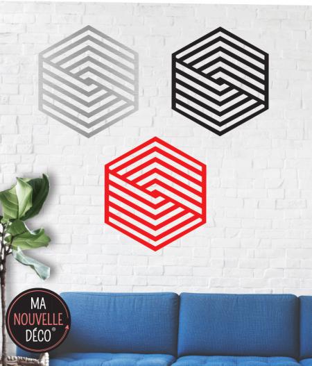 Décoration murale héxacarré existe en trois couleurs noir - rouge - alu brossé - ma nouvelle décoration.