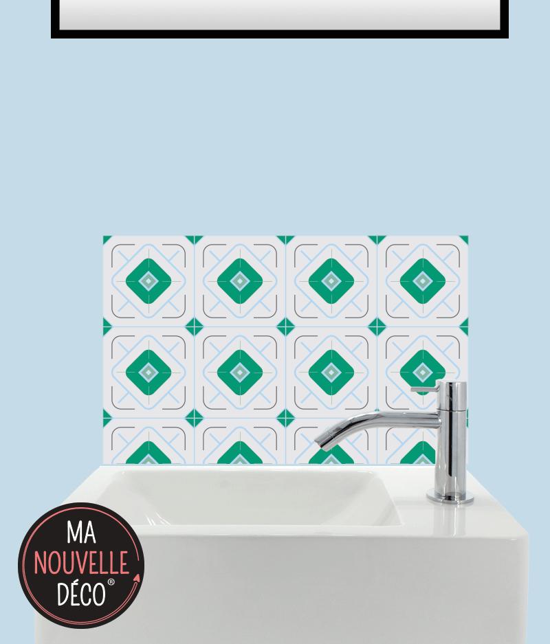 CRÉDENCE LAVE-MAINS ÉLISA motif carreau de ciment bleu vert