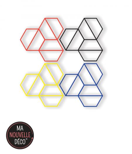 Décoration murale héxatriangle - présentation composition des 4 modèles géométrique design - rouge - bleu - jaune - noir -