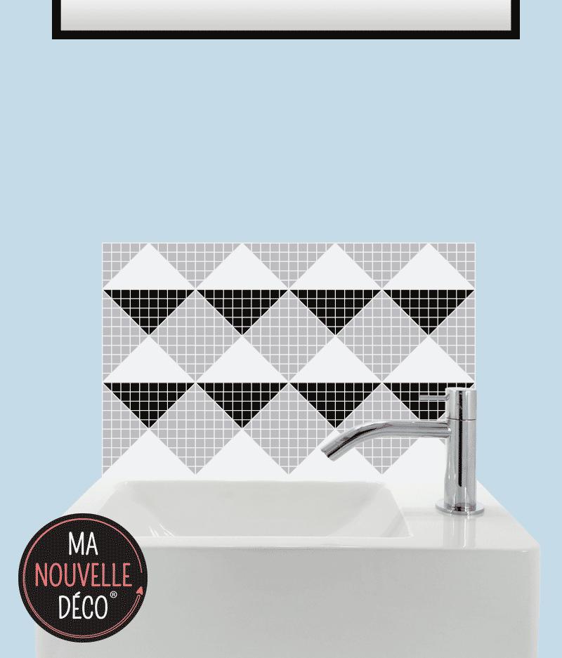 CRÉDENCE LAVE-MAINS VANDA motif mosaïque noir blanc gris