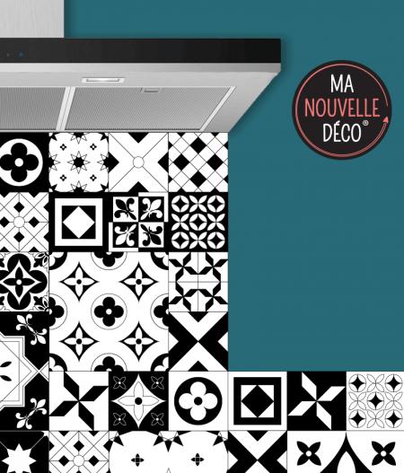 Crédence cuisine adhésive carreaux de ciment Noir & Blanc